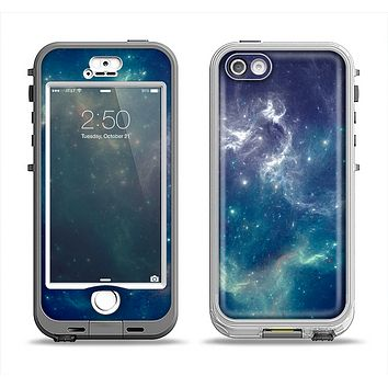 The Subtle Blue and Green Nebula Apple iPhone 5-5s LifeProof Nuud Case Skin Set