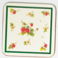 Cork Coaster Set, Strawberries, Set of 4, Wood Coasters, Vintage Coasters, Fruit Pictures, Strawberry Pictures,