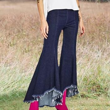 New Dark Blue Irregular High Waisted Bell Bottoms Extreme Flare Casual Long Jeans