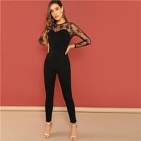 Night Out Black Mesh Contrast Long Sleeve Jumpsuit
