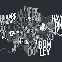 London UK Text Map Art Print