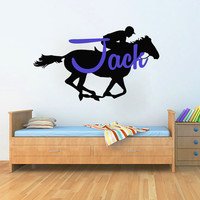 Wall Decals Personalized Name Decal Vinyl Sticker Rider Horse Boy Baby Children Nursery Bedroom Room Decor Home Playroom Art Murals MN500
