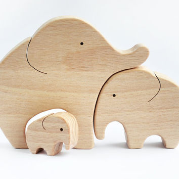 Elephants Family Wooden Puzzle - Elephant Toy - Hand Cut Wooden Toy - Elephant Decor - Wooden Puzzle - Elephant Figurine - Christmas gift