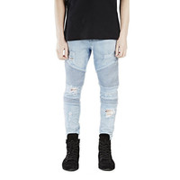 Men's Hip-Hop Denim Distressed Slim Long Rock Ripped Biker Jeans