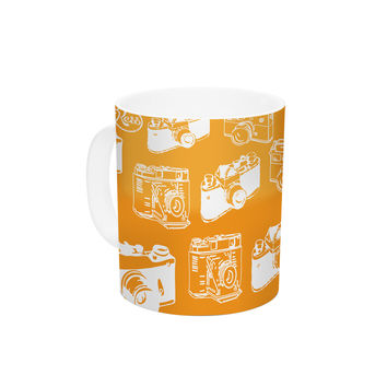 "KESS Original ""Camera Pattern"" KESS Orange Ceramic Coffee Mug"