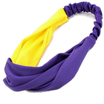 Knot Turban Headband for Women, Turban Head Wrap, Headband,Game Day, Twist, Head Wrap - Purple / Yellow