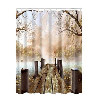 3D Pattern Shower Curtain Bathroom Waterproof Fabric Lake House Nature Country Rustic Home Art Paintings Pictures