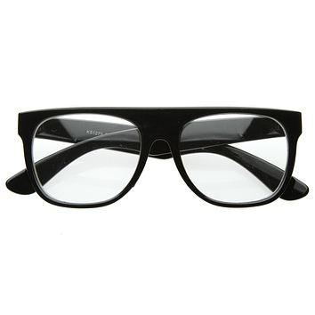 Retro Super Hipster Flat Top Horned Rim Clear Lens Glasses 8070