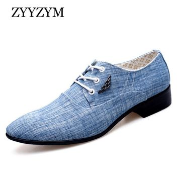 ZYYZYM Shoes Men Casual Shoes Spring Summer Men Shoes Canvas Fashion Trend Tie Pointed Breathable Men Party Shoes