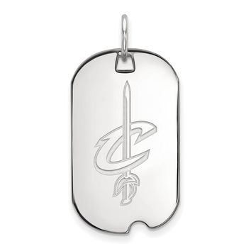NBA Cleveland Cavs Sterling Silver Small Dog Tag Pendant Necklace