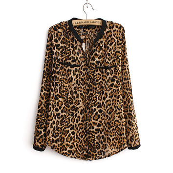 Leopard Print Shirt Long sleeve V -Neck Top Loose Blouse
