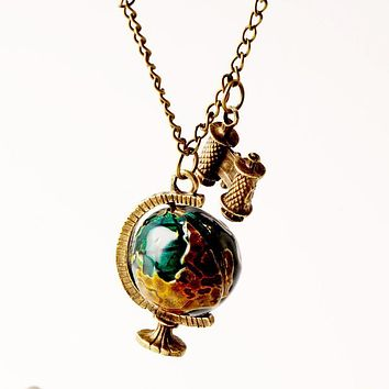 Globe and Telescope Vintage Necklace