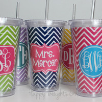 Monogrammed Acrylic Tumbler - Personalized Cup - custom design - 16 oz with lid and straw monogrammed