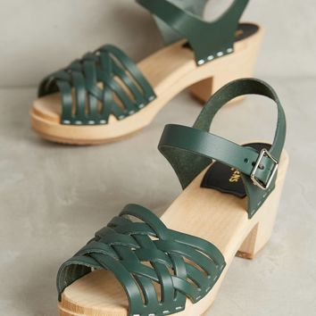 Swedish Hasbeens Braided Open-Toe Clogs