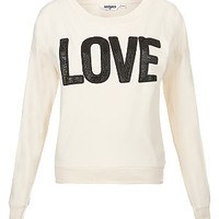 Teens Cream Embossed Leather-Look Love Sweater