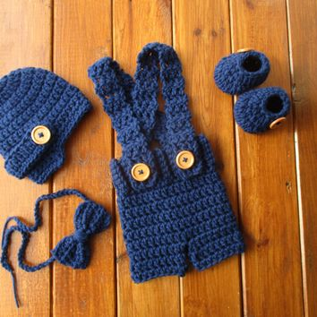 Navy Baby Boy Outfit Newborn Boy Photo Prop