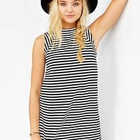 BDG Mod Stripe Mock-Neck Trapeze Dress- Black & White