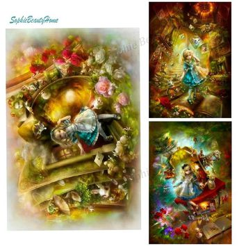 DIY Diamond Painting Alice Dream Roaming Wonderland Pattern 5D Jewelry Embroidery Cross Stitch Gift Mosaic Decorate Your Home