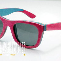 Wood Sunglasses - Eco-Friendly Recycled Pink Skateboard Wood Wayfarer Sunglasses | Hand Made from Recycled Wood