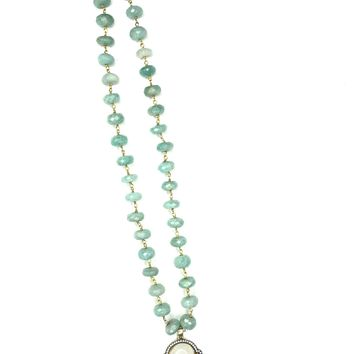 Buddha White Calcite and Green Calcite Beaded Necklace