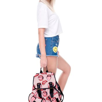 Polka Dots Rolling Stones Tongue Red & White Vintage Canvas Backpack