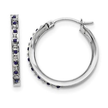 Sterling Silver Diamond & Blue Sapphire Round Hoop Earrings
