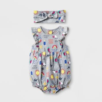 Baby Girls' Romper - Cat & Jack™ Heather Gray