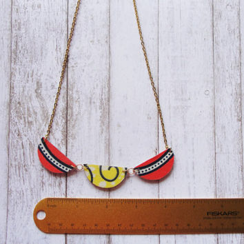African Fabric Necklace- Geometric Necklace- Colorful Necklace- Statement Necklace- Gift for Her- Gift for women under 20