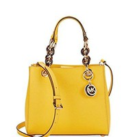 MICHAEL Michael Kors Cynthia Small Leather Satchel (Sunflower)