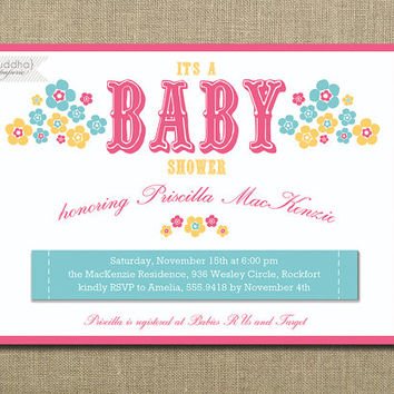 Garden Baby Shower Invitation Bloom Flowers Girl Watermelon Pink Tiffany Blue Bridal Shower Printable Digital or Printed - Priscilla Style