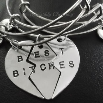 3 Pcs Best Bitches, Partners in crime, Bestfriends charm bracelet, Stainless Steel Expandable Bangle, monogram personalized item No.720