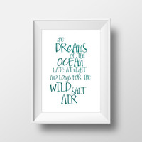 Gift idea Wall decor Home decor Typographic print Mermaid Art Print Poster Sea quote She Dreams of the Ocean Printable quotes Nursery art