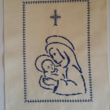 Virgin Mary with Jesus Finished Cross Stitch Free shipping Worldwide DMC