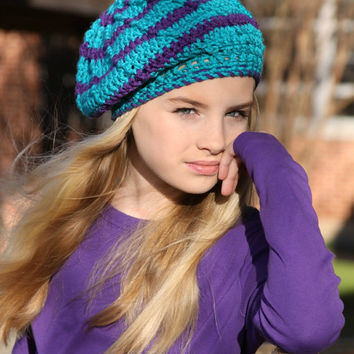Slouchy Beanie Crochet Hat Teal Blue and Purple Stripe Tween Fashion