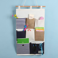 Navy Patchwork Storage Cotton Linen Wall Mounting Bags [6377499332]