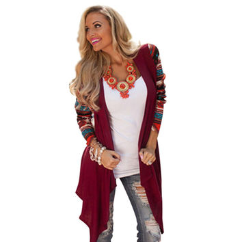 Women Cardigan 2017 Spring Autumn Long Sleeve Knitted Cardigan Sweater Air Conditioning Outwear Tops Aztec Long Poncho Cardigans