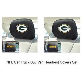 Licensed Official New 2pc NFL Green Bay Packers Gear Car Truck Suv Van Headrest Covers Set