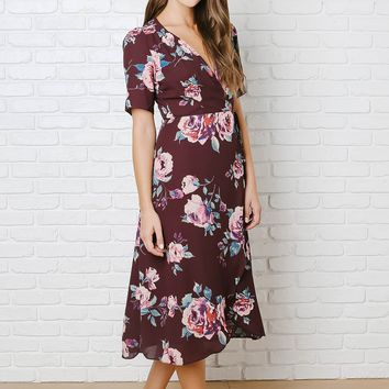 Magenta Rose Print Wrap Dress