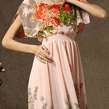 Maxi Dress - Neutral Colored / Flowing Sleeves / Floral Printed