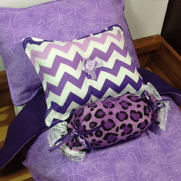 "Doll Bedding, lavender swirl, reverse in purple fleece for 18"" doll, comforter, bed pillow, animal print bolster, chevron pillow 4 piece set"