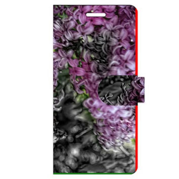 Lilacs Fade to Black and White Apple iPhone 6 Plus Leather Folio Case