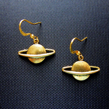 Little SATURN PLANET EARRINGS in Gold Sailor by BellyDancePrincess