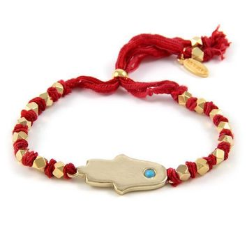 Multi Red Knotted Vintage Ribbon Adjustable Bracelet with Gold Hamsa Charm
