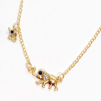 Mommy & Baby Crystal Elephant Necklace