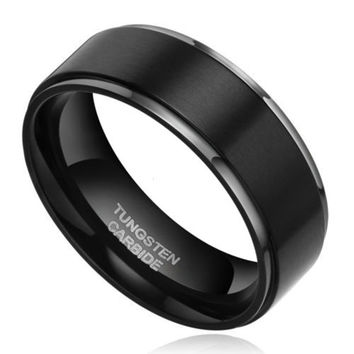 8mm black men tungsten carbide ring wedding engagement band promise rings comfort fit high polish and - Tungsten Wedding Rings For Men