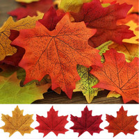 100PCS Artificial Maple Fall Leaves Colorful Maple Leaves For Wedding Party Favor Autumn Leaf Decorations