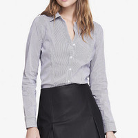 Striped Fitted Long Sleeve Essential Shirt from EXPRESS