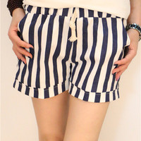 Blue and White Stripe Elastic Waist Drawstring Casual Shorts