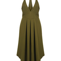 Army Green Plunge Neck Cami Maxi Dress