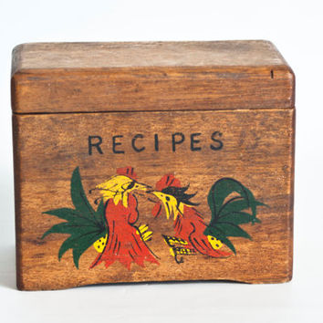 Vintage Hand Painted Rooster Recipe Box, Wood Storage Container, Recipe File Cards, Rustic Cottage Decor